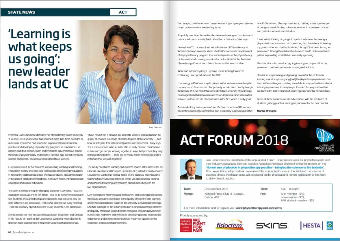 Lucy Chipchase In Motion article - Australian Physiotherapy Council
